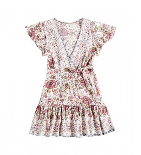 V Neck Short Sleeve Floral Print Pleated A-line Tied Strap Women Wrap Dress