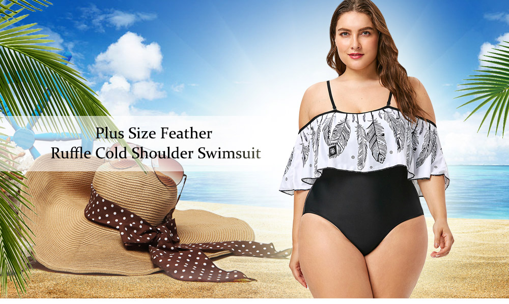 Plus Size Feather Printed Open Shoulder Swimsuit