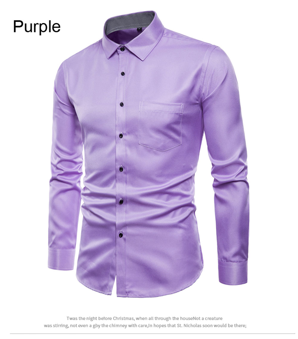 Spring Men's Long-Sleeved Shirt British Solid Color Wild Shirt T-Shirt