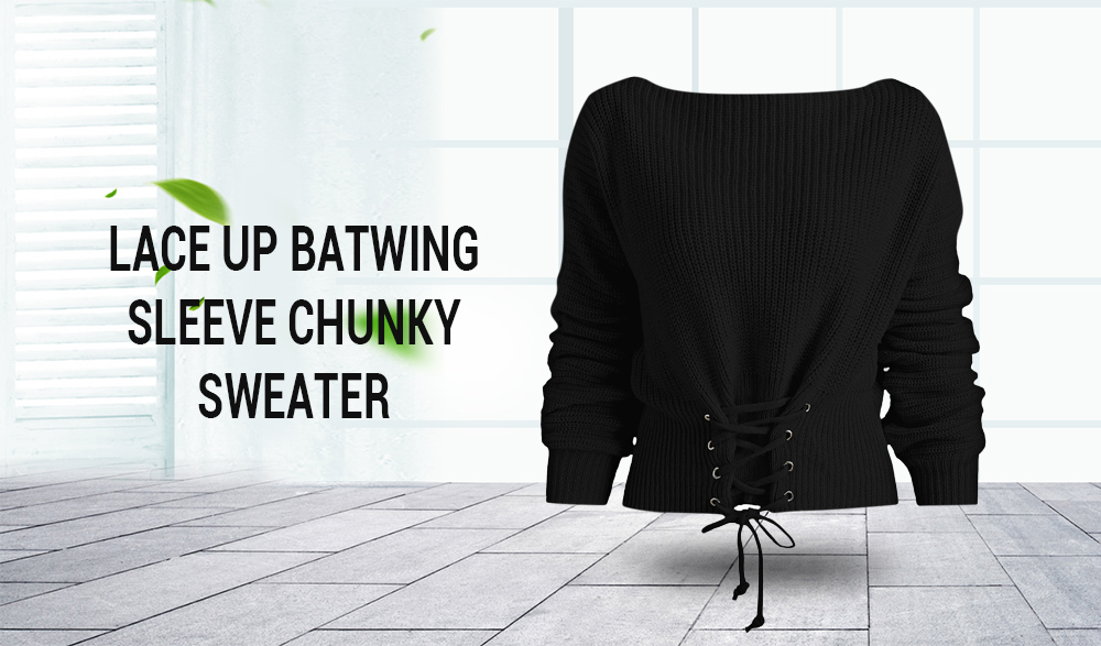 Lace Up Batwing Sleeve Chunky Sweater