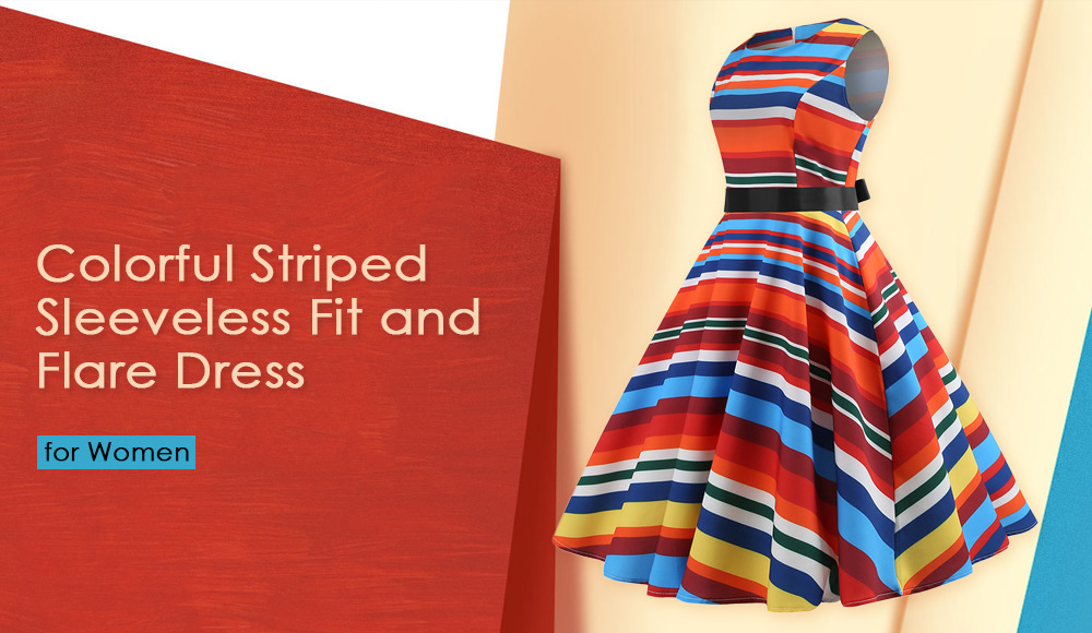 Colorful Striped Sleeveless Fit and Flare Dress
