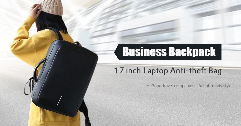 Business Backpack 17 inch Laptop Anti-theft Bag with USB Charging Port