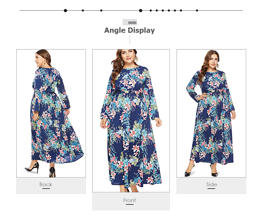 Round Collar Long Sleeve Leaf Floral Print Plus Size Women Maxi Dress
