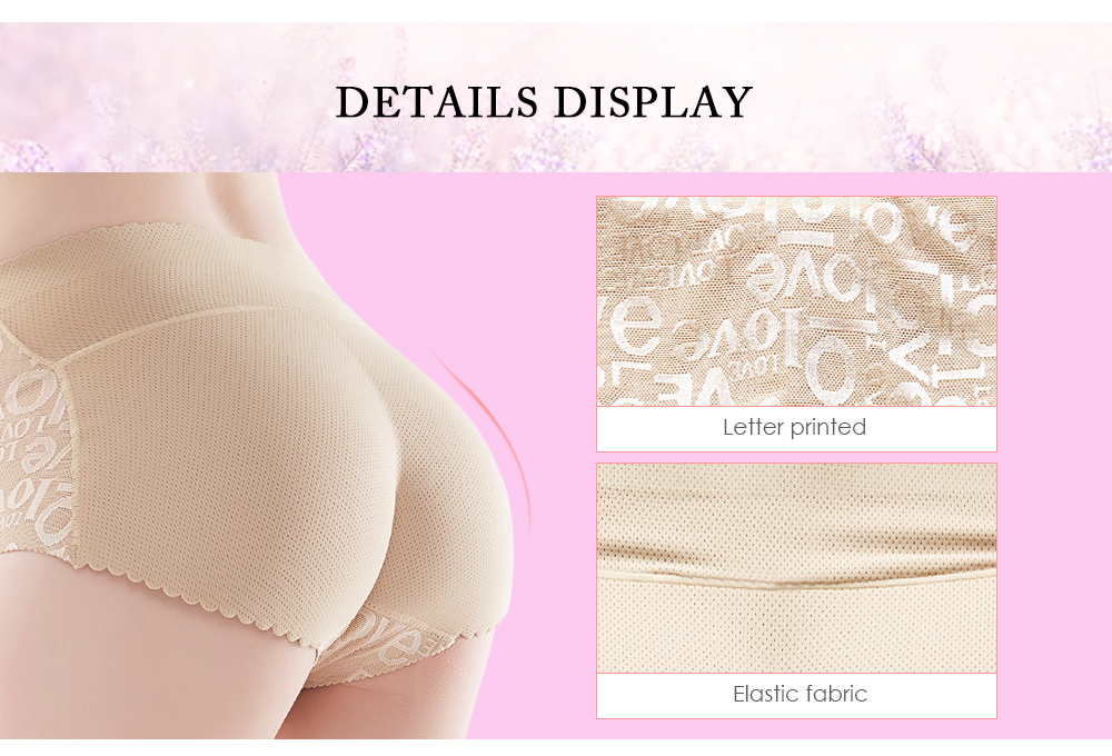 Women Butt Lifter Mid-rise Letter Printed Lace Padded Hip Enhancer Underwear