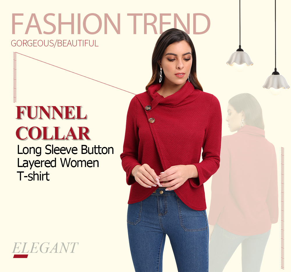 Funnel Collar Long Sleeve Solid Color Button Layered Knit Women T-shirt