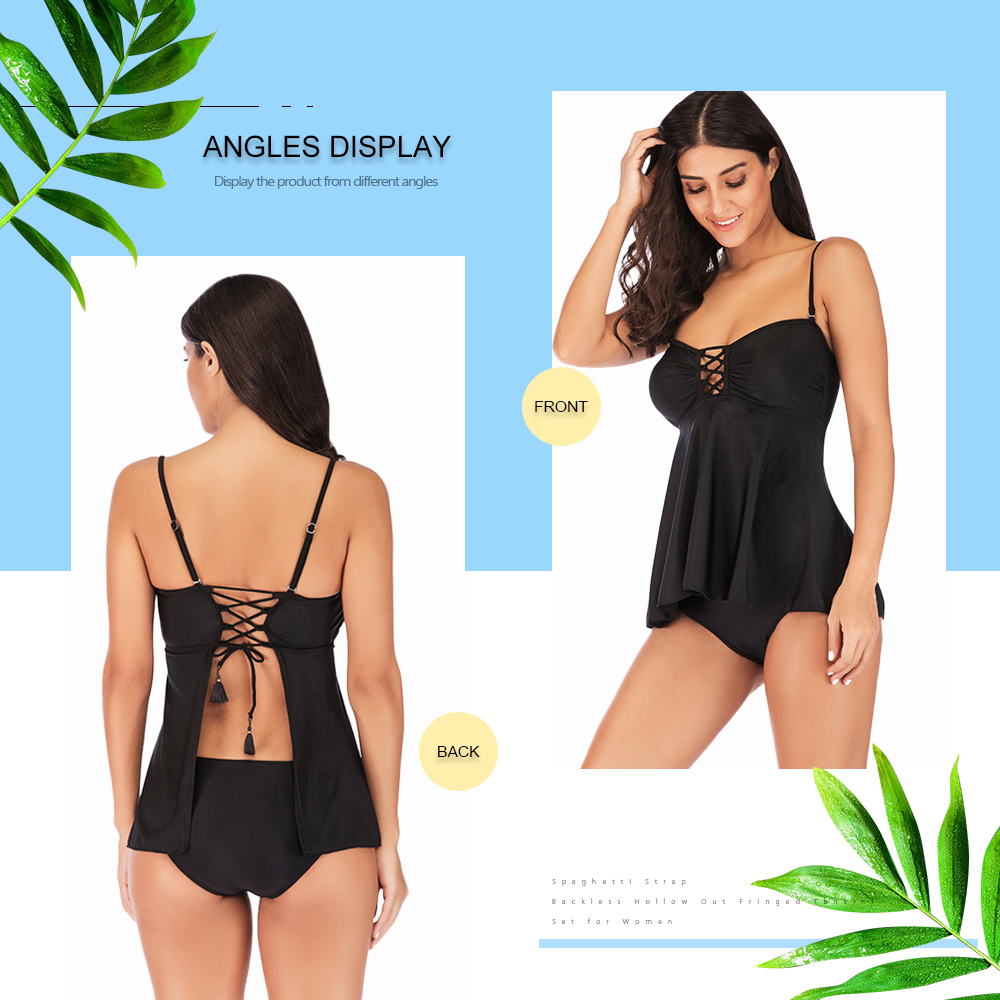 Spaghetti Strap Backless Padded Hollow Out Criss-cross Fringed Two-piece Women Tankini Set