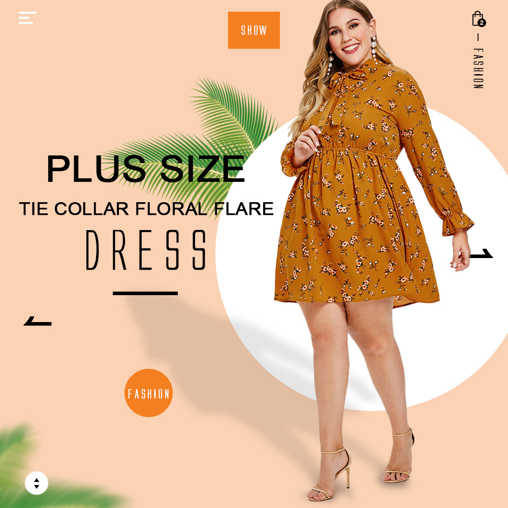 Plus Size Tie Collar Floral Flare Dress