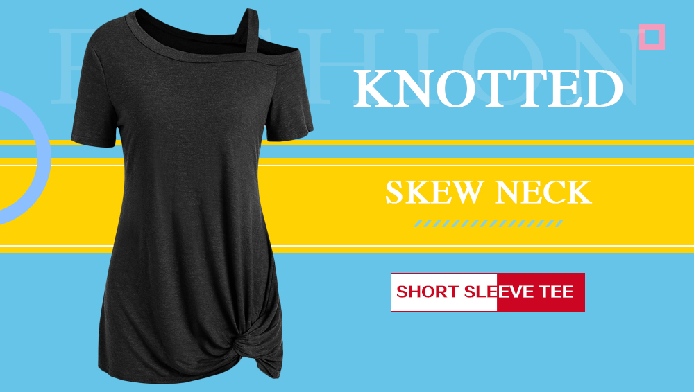 Knotted Skew Neck Short Sleeve Tee