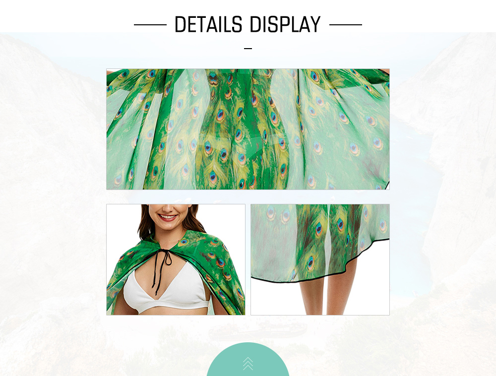 Peacock Print Cloak Cover Up Top