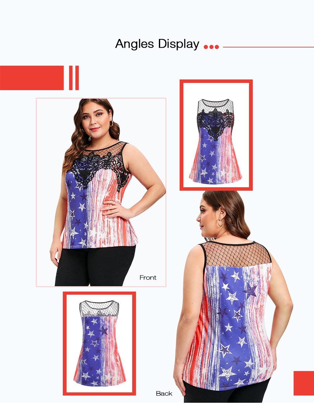 Plus Size American Flag Print Lace Panel Tee