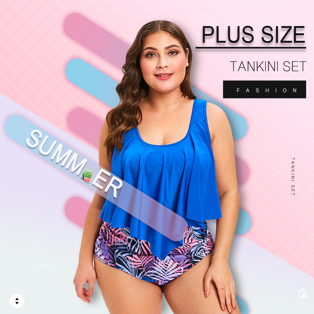 Plus Size Padded Printed Tankini Set